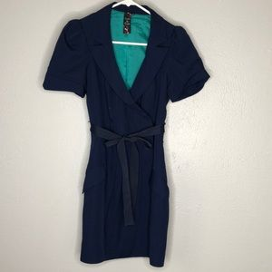 Vintage lined petite navy dress
